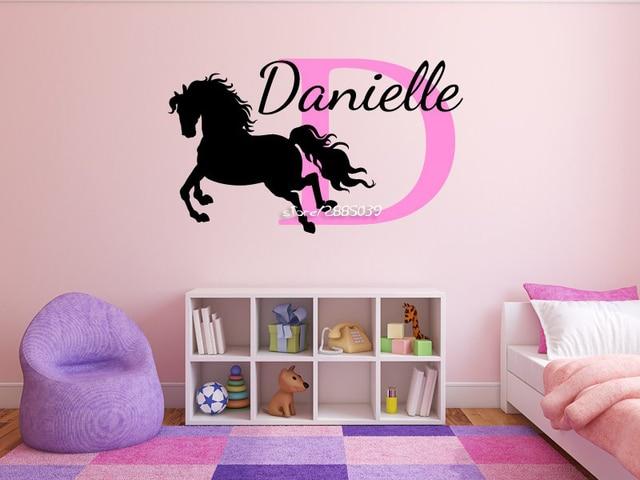 adesivo de parede horse wall stickers personalized name monogram