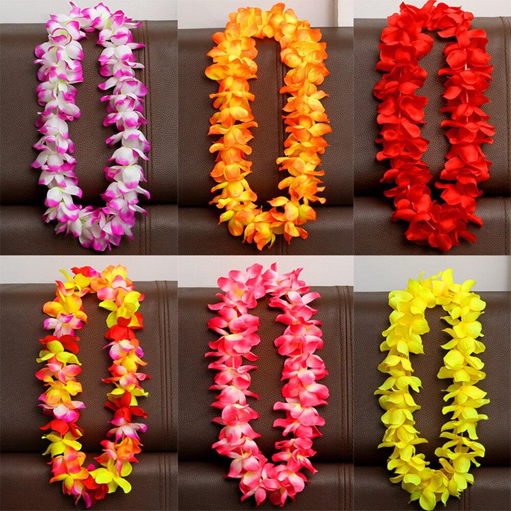 6pcs/set Hawaiian Flower leis Garland Necklace Fancy Dress Party Hawaii Beach Fun Flowers DIY Party Beach Decoration