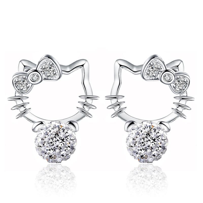 New Shambhala crystal gold cat earrings Hello Kitty bow earrings ...