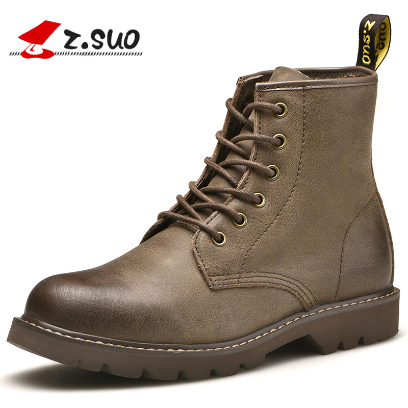 Z.SUO Men's Winter Boots Fashion Genuine Leather Ankle Boot Shoes Lace-up Motorcycle Martin Boots For Male botas hombre ZS18520 fashion men s formal martin boots mens leather ankle boots lace up male boots footwear botas hombre spring autumn winter shoe