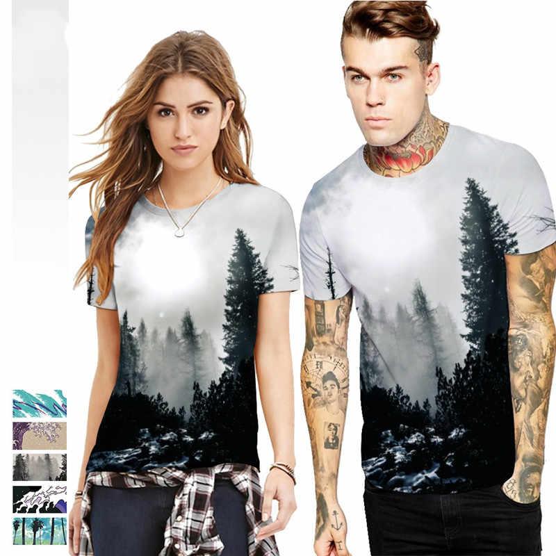 5 стилей плюс размер 3d футболка Туманный лес с волнистым принтом Мужские и женские футболки летние с коротким рукавом Забавные футболки нижнее белье