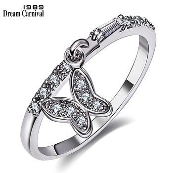 DreamCarnival 1989 New Butterfly Charms Rings for Girl Best Lover Gift Daily Wear Zirconia Fashion Jewelry Drop Shipping WA11186