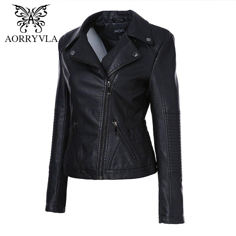 AORRYVLA 2019 Nouveau Printemps Femmes Faux veste en cuir De Mode Noir Couleur Turn-Down Col Courtes Fermetures Dames PU veste en cuir - 2