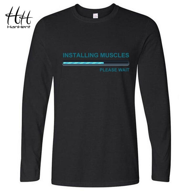HanHent diseño divertido Tee camisa hombres deportivos Camiseta de Manga  Larga la camisa Casual Tops de algodón Camiseta Hombre Manga Larga b21f9bc308546