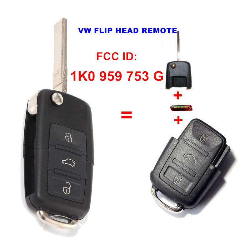 Prix pour 1K0 959 753G 1K0959753G Pliant Flip Key Entrée Sans Clé transmetteur Pour VW VOLKSWAGEN SIÈGE 3 Bouton 434 MHZ Avec ID48 Puce