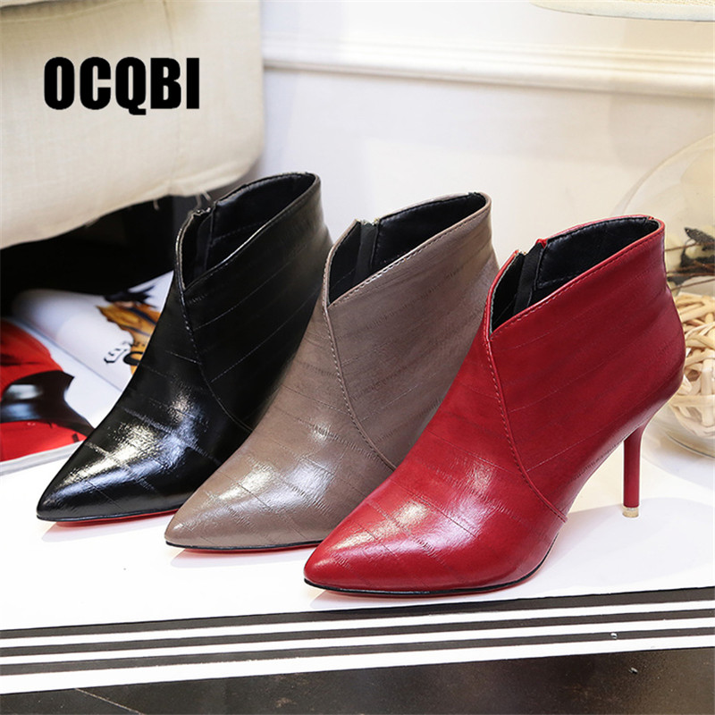 pretty nice 92115 8a7c8 US $16.79 25% OFF|Red Bottom High Heel Boots Women Autumn Winter Fashion  Ankle Boots 2018 Black Matte Pointed Toe Ladies Shoes Sexy Zipper  Booties-in ...