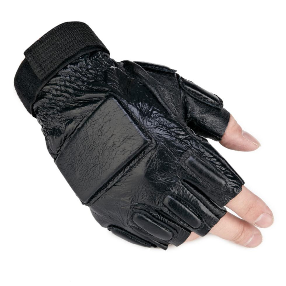 Tactical Motorcycle Gloves Military Outdoor Gym Airsoft Workout Sport Wrestling Wearproof Fingerless Leather Luvas Men Mittens In From