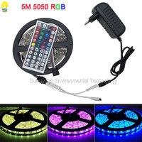1 M 5 M SMD 5050 RGB LLEVÓ Luces de Tira con el Regulador DC 12 V Adaptador de Corriente Diodo IP20 IP65 Impermeable Flexible LLEVÓ la Cinta lámpara