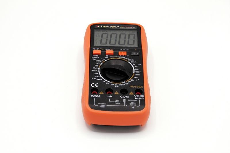 ФОТО VICTOR VC9801A+ Digital Multimeter DMM AC/DC Ammeter Voltmeter Ohmmeter w/Capacitance hFE Test & LCD Backlight