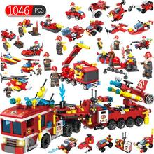 Fire 1046pcs Fighting 12 In1 Trucks Car Helicopter Boat Building Blocks Compatible Legoed City Firefighter Figures Children Toys(China)