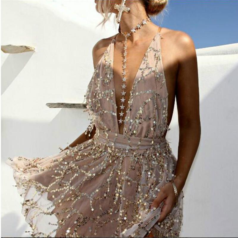 HTB109BeEDJYBeNjy1zeq6yhzVXaG - 2018 Party dresses Sexy Dresses Women Backless Halter Black Gold Mini Dress Party Tassel Summer Dress Women Club Wear