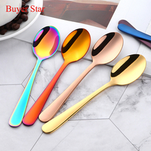 6 Pcs/Lot Luxury Gold Dessert Spoon 9 Colors Tea Stainless Steel Coffee Thick Cutlery Set Mini Spoons