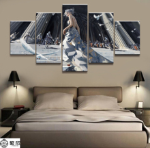 5 Pieces Ghost Blade Comic Poster Modern Wall Art Decorative Modular Framework Picture Canvas HD Printed One Set Painting