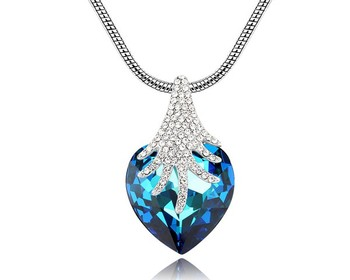 Blue Austrian Crystal Heart Pendant Necklace Mother Wife Noble Jewellery Gifts For Valentine Love Jewelry Hyperbole Fine Bijoux cristal austriaco
