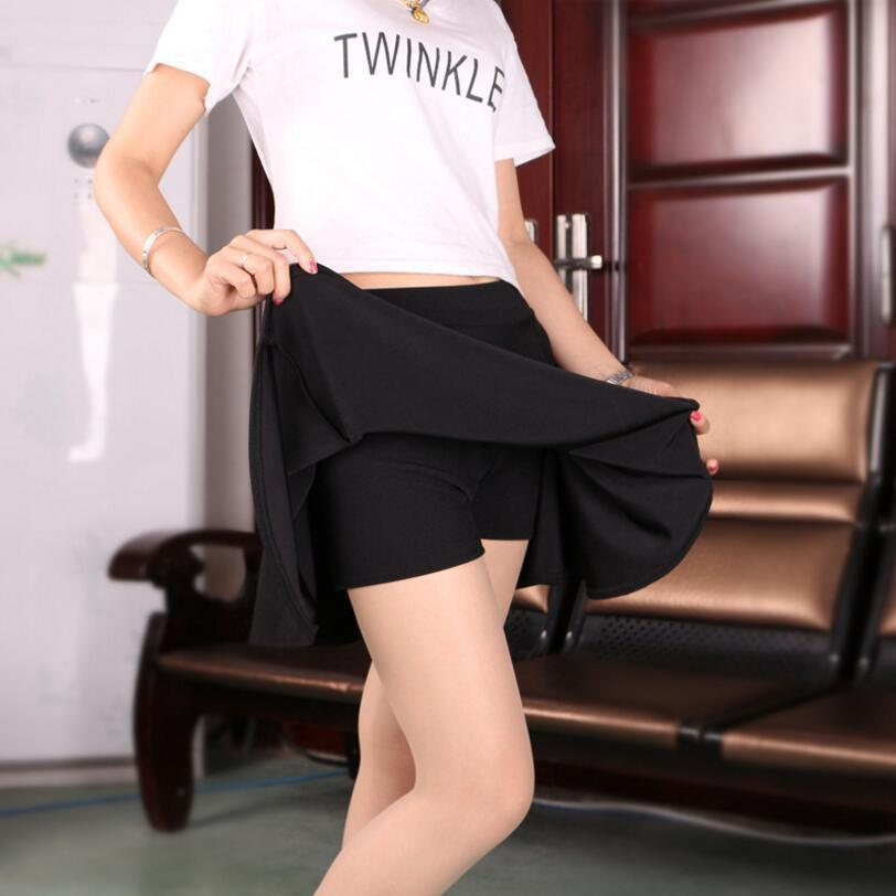 Women Summer Short Skirts High Waist Pleated Sport Skirts Leisure Mini Skirts With Safety Pants Red Blue Black Femininas Saias