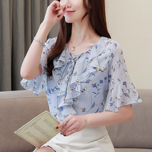 New Style Fashion Women V Collar Loose Lotus Sleeve Sweet Summer Chiffon Shirts Blouses