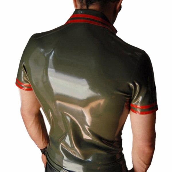 Горячая Распродажа! Мужская рубашка из натурального латекса, облегающая, латексная, ручная работа, рубашка поло, толщина 0,4 мм, высокое качество - 2