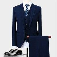 Size S 5XL ( Jackets + Vest + Pants ) Boutique High end Brand Groom Wedding Dress Mens Stage Suit 3 Sets Men Business Suit Black