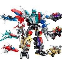 498 шт Diy строительные блоки Mecha 6в1 Трансформация Робот креативный мастер игрушки для детей совместим с L бренд детский подарок