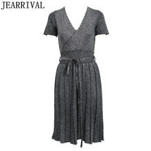 Runway Knitted Summer Dress 2017 New Elegant Women Sequins Color Sexy V Neck Pleated Office Evening