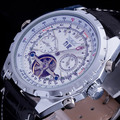 2016 top brand Jaragar luxury leather band auto date wristwatch men automatic self wind tourbillon mechanical skeleton watch