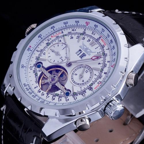 2016 top marque Jaragar luxe en cuir bande auto date montre-bracelet hommes automatique auto vent tourbillon mécanique squelette montre