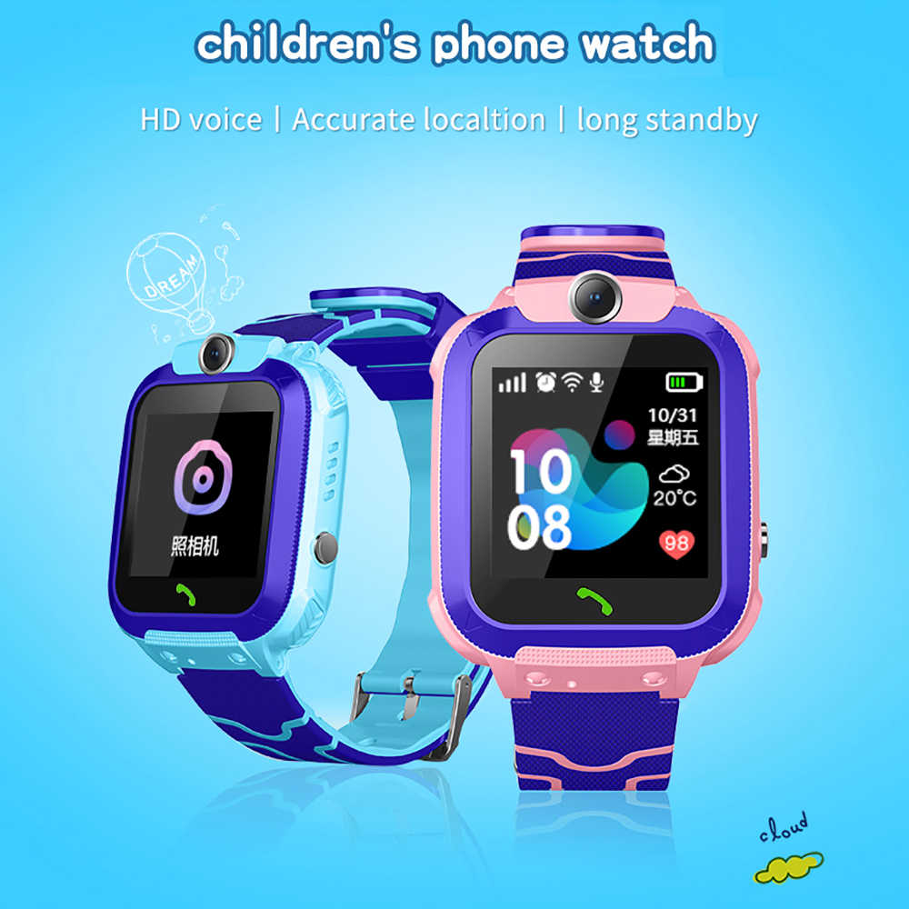 GPS Tracker Phone Position Children Smart Watch 1.22 inch Touch Screen SOS Call Camera GPS Fence Anti-lost