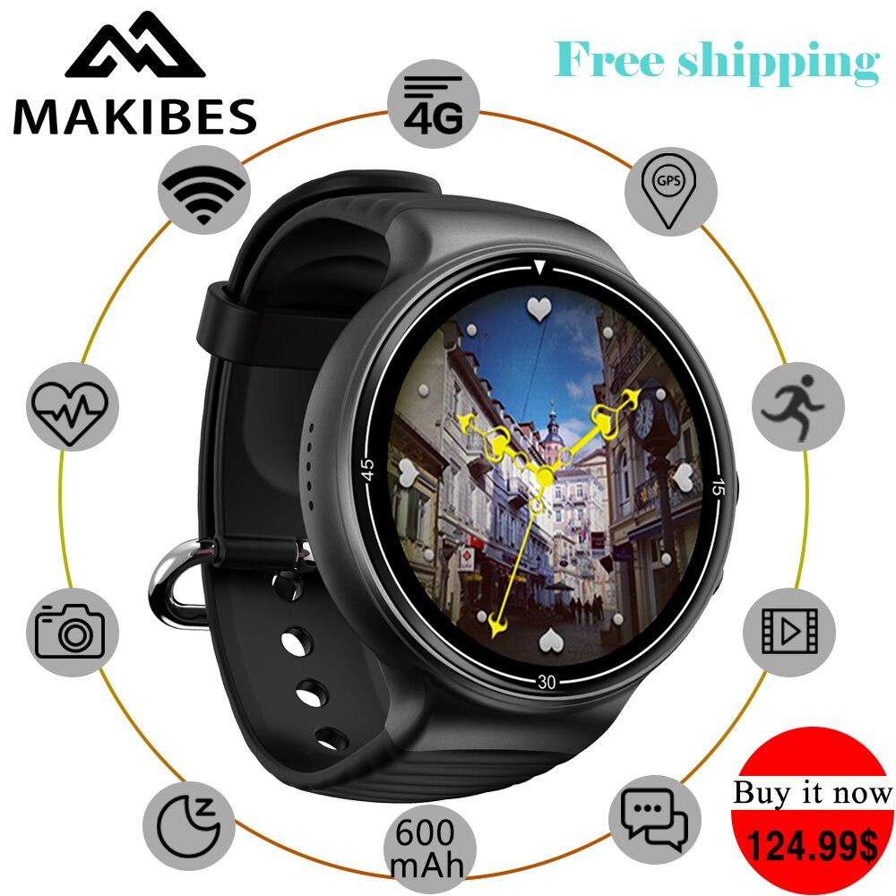 Livraison gratuite Makibes MK02 Hommes de 4g Caméra Smartwatch Téléphones 1 mb + 16 gb GPS WiFi Podomètre Coeur taux Montres Android 7.0 IOS
