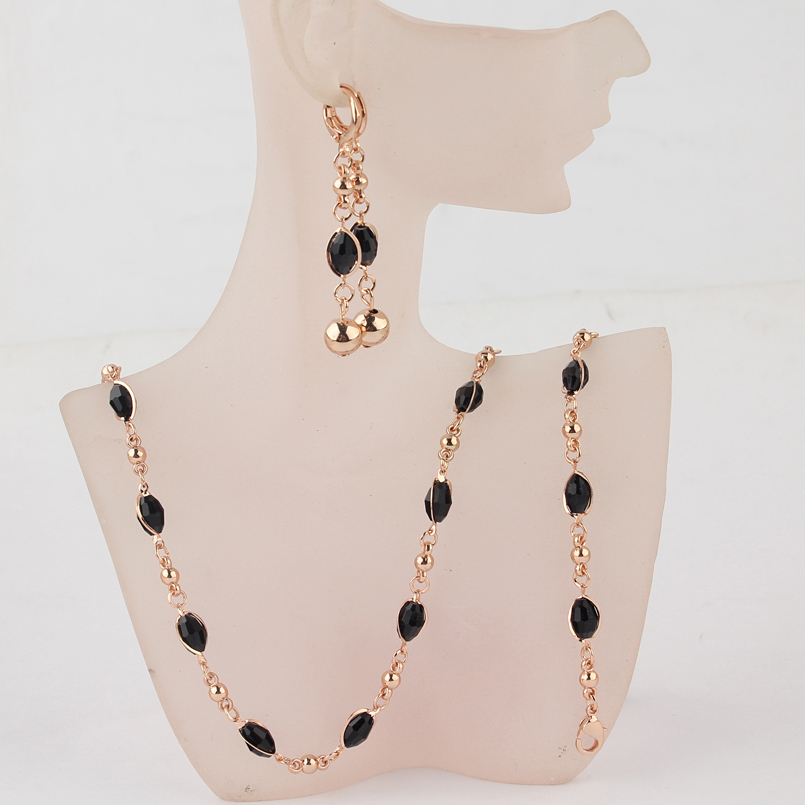 Free Shipping Fashion Women's Gold-color Black Austrian Crystal <font><b>Necklace</b></font> <font><b>Bracelet</b></font> <font><b>Earrings</b></font> Wedding/Bride Jewelry Sets Gift image