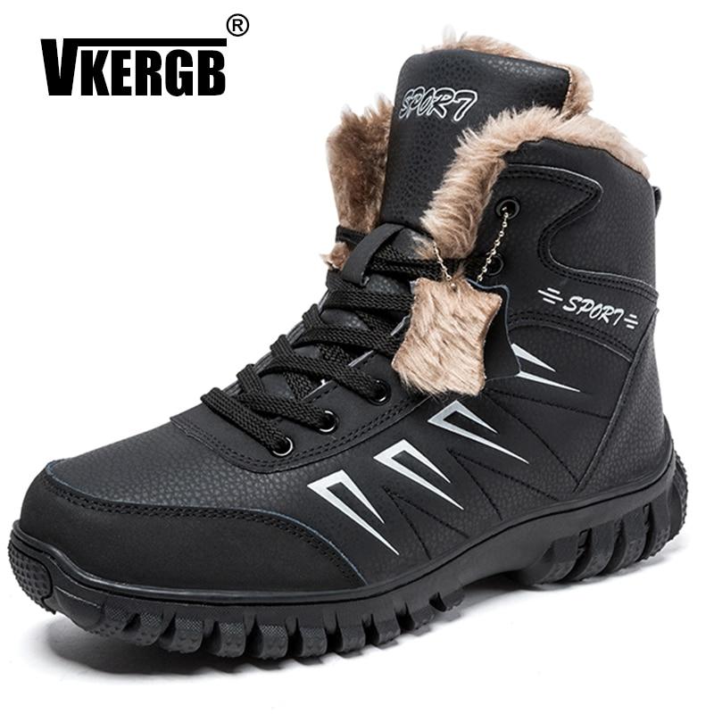 Vkergb Winter Boots Men Ankle Warm Christmas Fashion Short Plush Shoes Man Snow Super Genuine Leather Boot