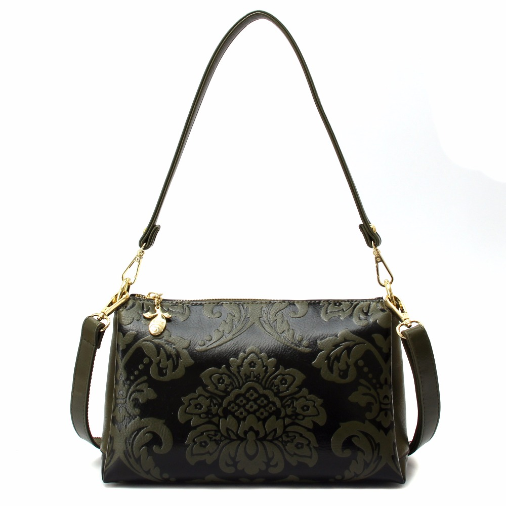 Chinese Style Retro Handbag Exquisite Embossed Flower Women Messenger Bag PU Leather Multi-layer Practical Female Shoulder Bag pu leather metal multi zips handbag