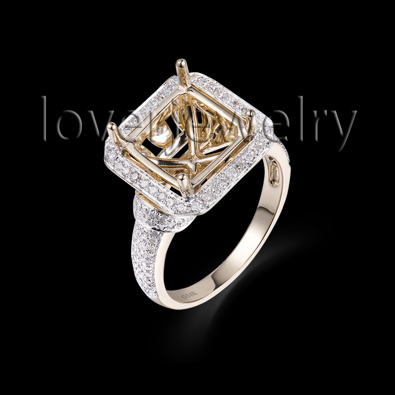 Hot!14K Pure Gold Ring,Natural Diamond Setting Ring 585 Yellow Gold Princess 10mm For Sale G090326 new pure au750 rose gold love ring lucky cute letter ring 1 13 1 23g hot sale