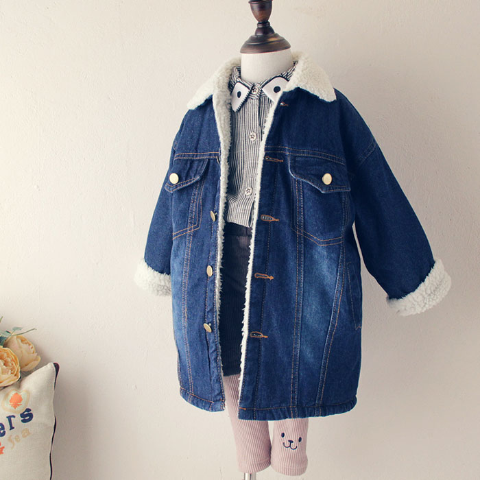 Winter Girls Lambswool Coats Velvet Jacket Baby Girl Warm Cowboy Jackets Clothing Children's Thick Coats Kids Fashion Outwear