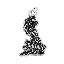 50Pcs /Lots Double side Great Britain Country Map Dangle Charms DIY for Bracelet&Necklace Jewelry Wholesale(China)