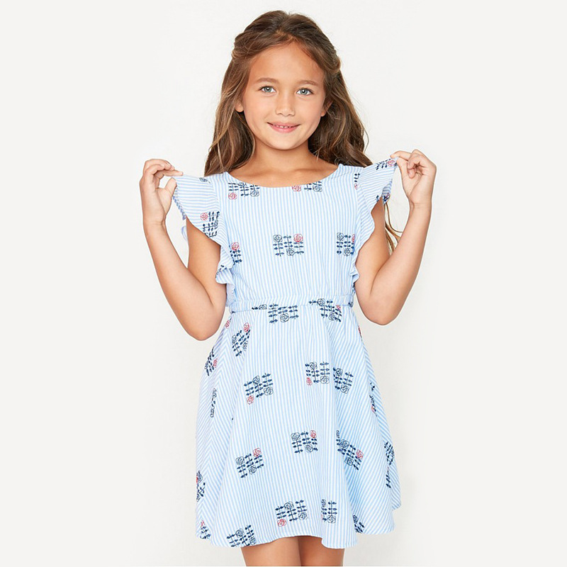 728f2f2deed HAYDEN Girls Ruffle Sleeve Dress Kids Floral Embroidery Dress Cute Teen Girl  A Line Dresses Summer Clothes for Teengers 12 Years-in Dresses from Mother  ...