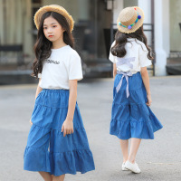 2019 Children's Sets White T shirt Plus Denim Skirt 2pcs Sale Girls Summer Clothing Set Teens Girl Clothes 7 8 9 10 11 12 Years