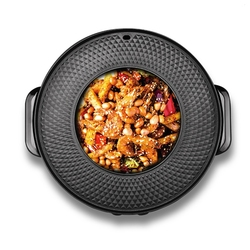 DMWD 220V Multifunctional Electric Griddles Hotpot BBQ Roasting Pan 2 In 1 Smokeless Non-stick Barbecue Machine For 1-4 People