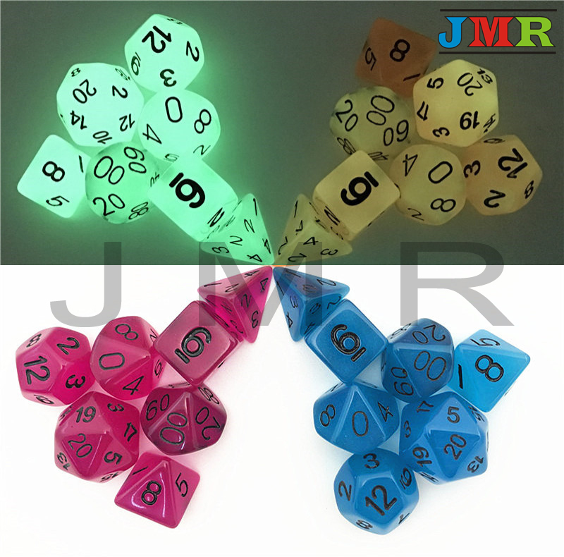Hot Sale Glowing In The Dark Polyhedral Dice 7pcs Glowing Dice Set