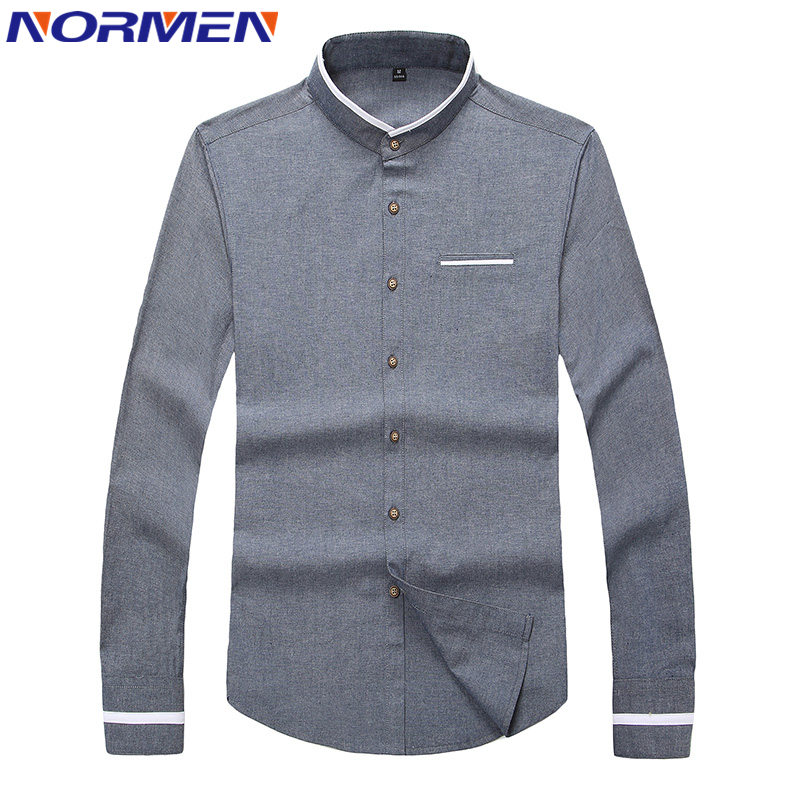 2017 new brand men 39 s casual shirt long sleeve banded