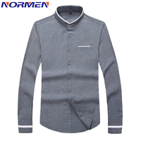 NORMEN 2018 New Men's Banded Collar Casual Shirts Full Sleeve Solid Color Business Shirt Men Slim Fit Collarless Dress Shirt Men