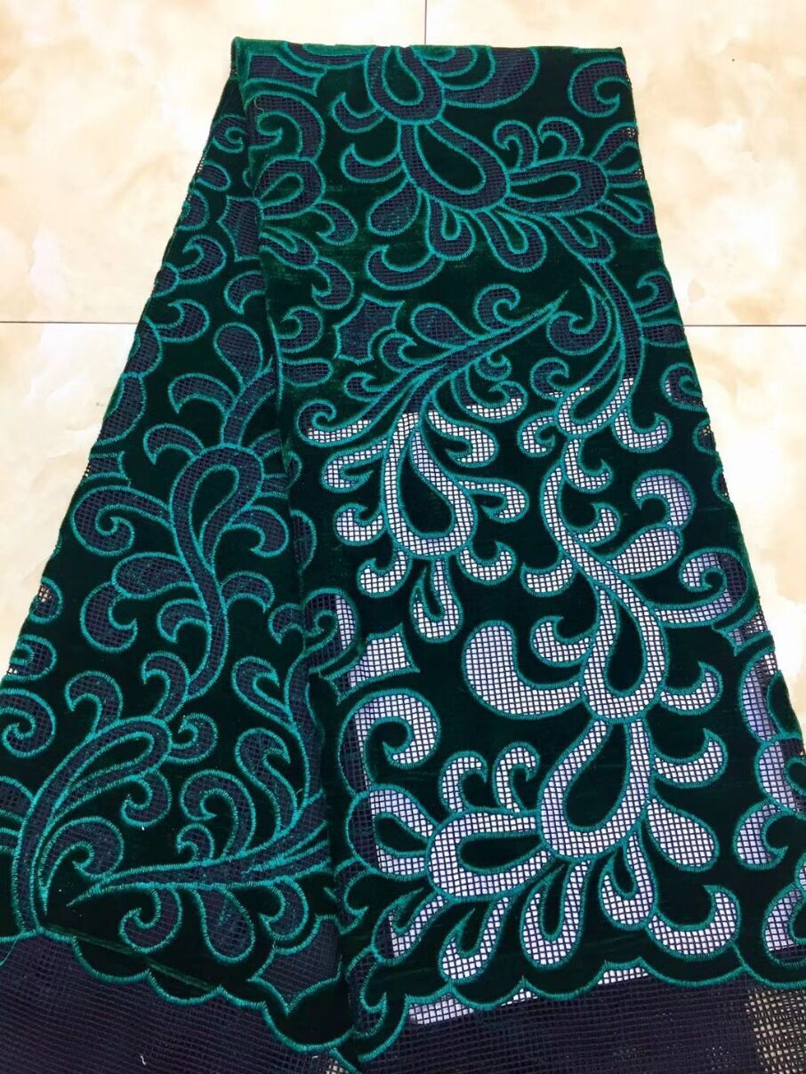 French Net Lace Fabric 2018 Latest african guipure lace fabric Royal Blue embroidery mesh tulle Green
