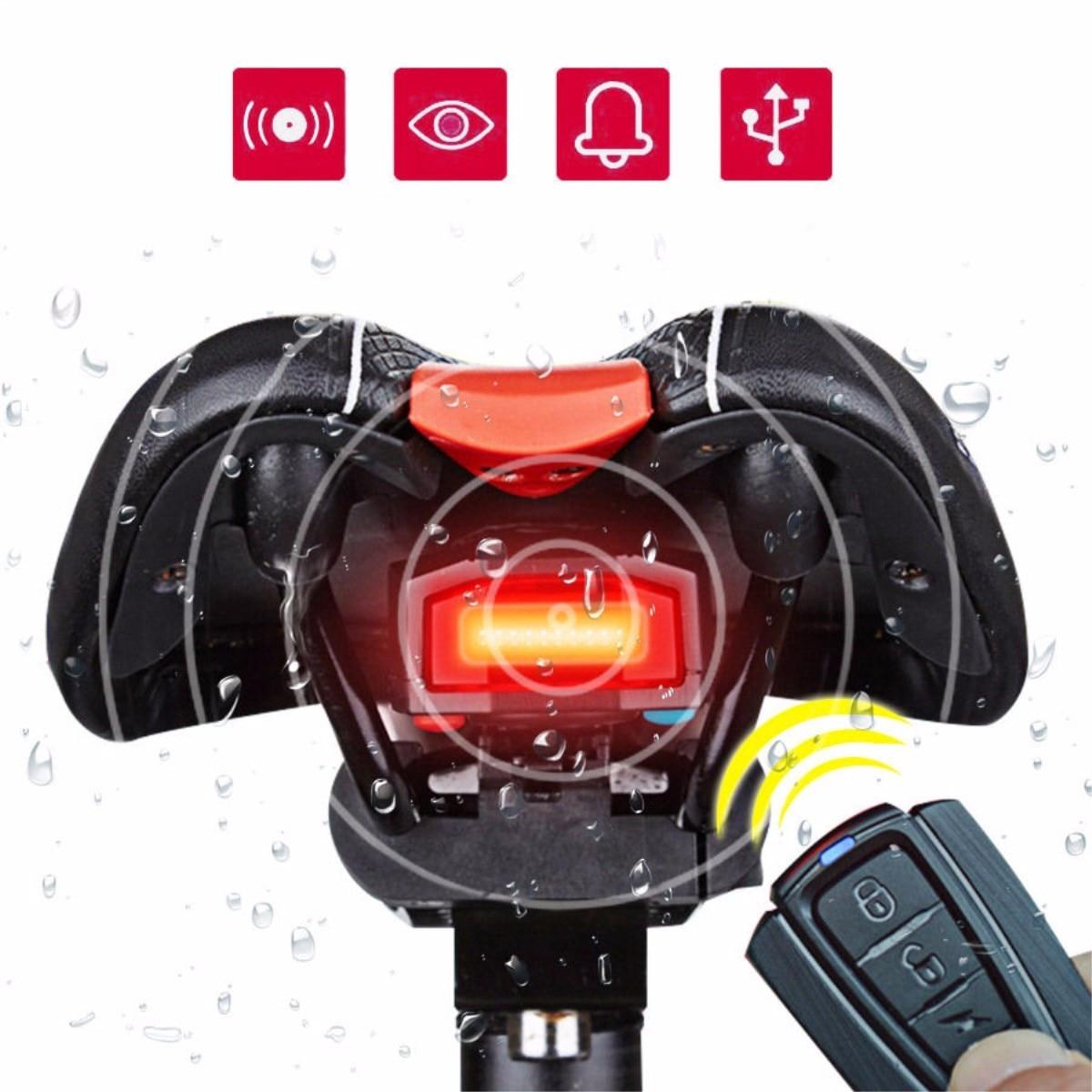 3 em 1 bicicleta bloqueio de segurança sem fio controle remoto alarme alerter bell luz traseira cob lanterna traseira acessórios da bicicleta