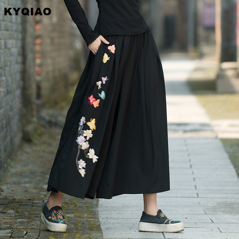 KYQIAO Ethnic Pantskirt Women Autumn Winter Boho Designer Long Black Embroidery Skirt Traditional Chinese Clothing