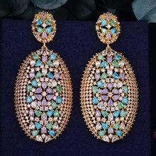 GODK 62mm Luxury Exclusive Multicolor Cubic Zirconia African Wedding Women Dress Earring Fashion Jewelry