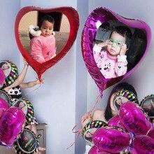 Grand ballon cœur 60cm /75cm, support de photo/image personnalisés en feuille à hélium, décoration de mariage, fournitures de fête
