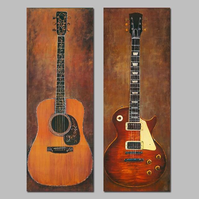 2 Sztuk Nowoczesne Dekoracji Martwa Natura Gitara Instrumenty