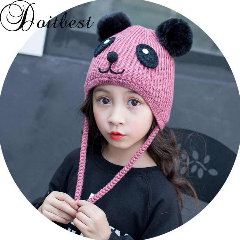 036a8d38a99 Doitbest 2 to 6 Years old flannelette boy Beanies panda hairball wool Winter  Baby Child knitted