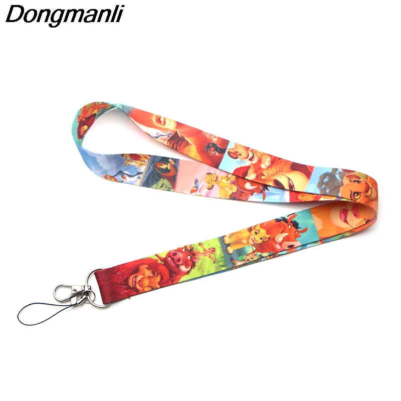 P3628 Dongmanli The Lion King Keychain Lanyards Id Badge Holder ID Card Pass Gym Mobile Phone USB Badge Holder Key Strap