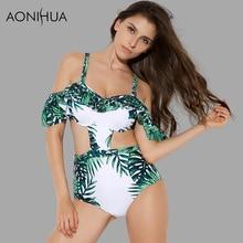 AONIHUA Swimsuit Women Ruffles Resort style Backless Off the shoulder Push up Monokini female High Waist 1 One Piece Swimwear