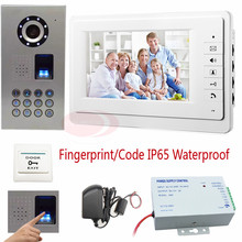 "Video Intercom Fingerprint recognition/Password unlock 7"" Color LCD Intercom System For Home 700TVL Sony Camera IP65 Waterproof"